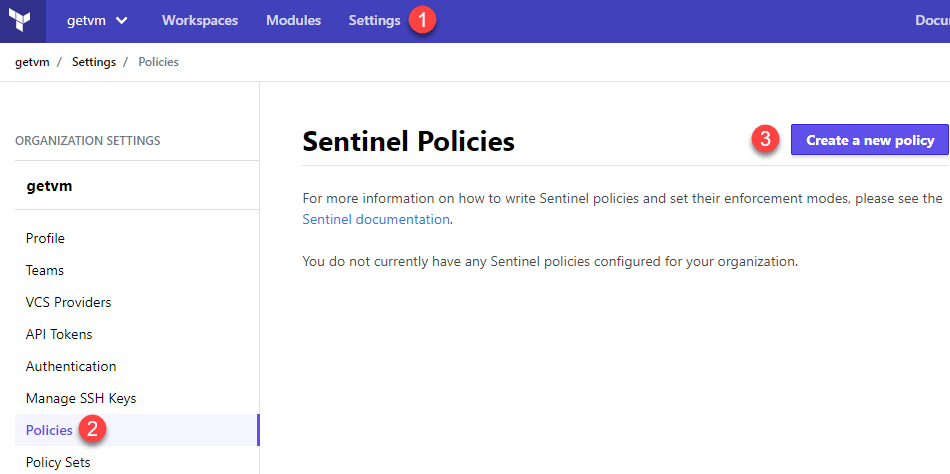 Create a new Sentinel Policy